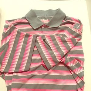 Nike golf collared shirt pink gray Dri-fit Med EC